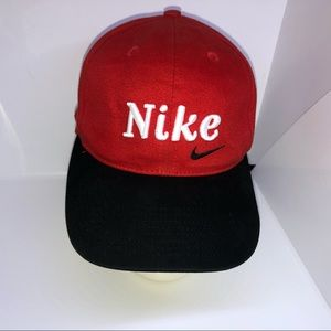 Nike Red Cap Black Swoosh Snap back OSFA